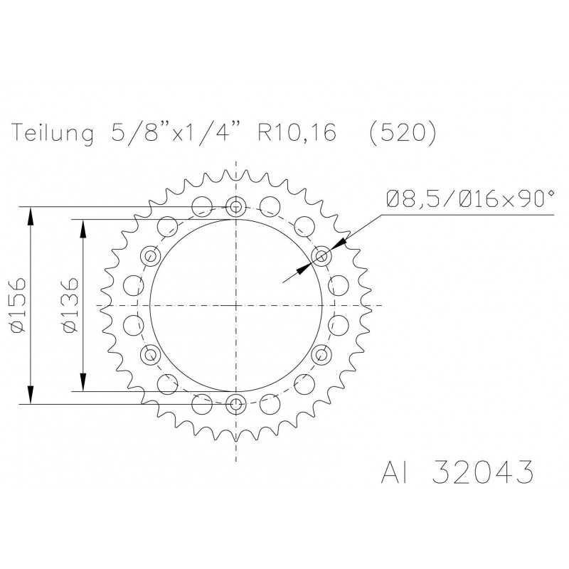(280759) Corona ESJOT Aluminio negro 51-32043-51 dientes