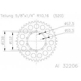 (280692) Corona ESJOT Aluminio 51-32206 39 dientes