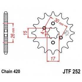 (280258) Piñon Jt 252 De Acero Con 12 Dientes