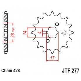 (280282) Piñon Jt 277 De Acero Con 13 Dientes