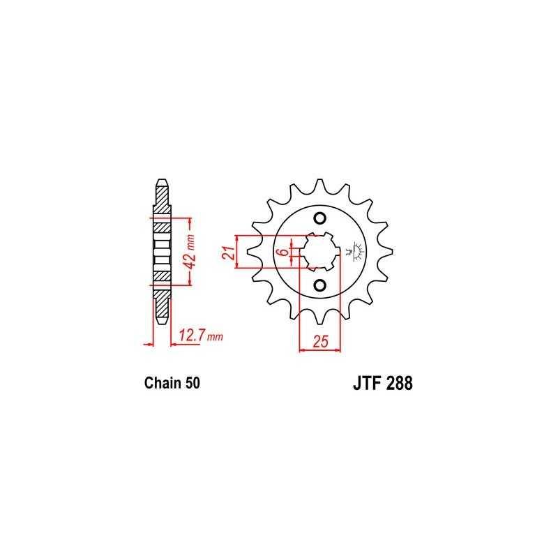(280296) Piñon Jt 288 De Acero Con 17 Dientes