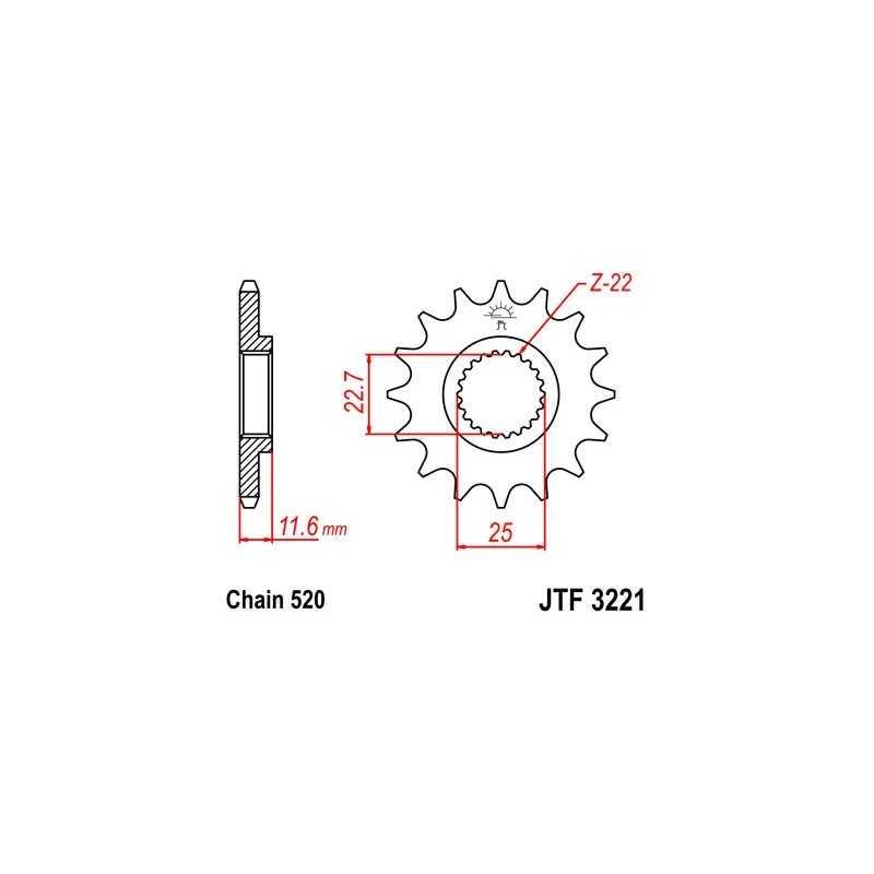 (263542) Piñon JT Polaris Scrambler 4 x 4 Rear 400 (13 dientes)
