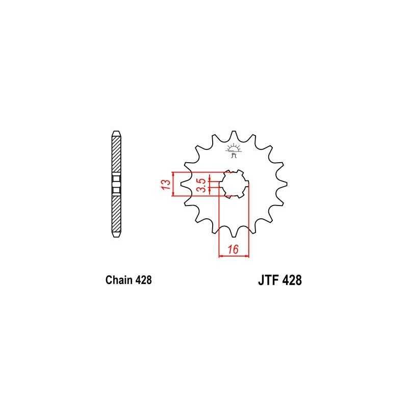 (280396) Piñon Jt 428 De Acero Con 12 Dientes