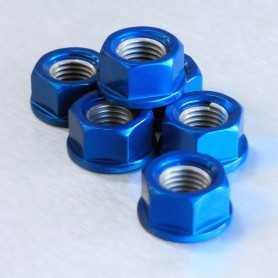 (369848) Tuerca De Corona 10Mm X 1,25 (6 Unidades) Aluminio Azul Pro-Bolt Spn10B