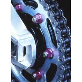 (369853) Tuerca De Corona 10Mm X 1,25 (6 Unidades) Aluminio Rojo Pro-Bolt Spn10R