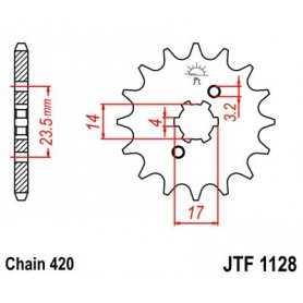 (280118) Piñon Jt 1128 De Acero Con 14 Dientes